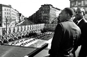 Martin Luther King, Jr. (left) and Ralph Abernathy (right) at the Berlin Wall on September 13, 1964. King had been invited to the German capital by Berlin mayor Willy Brandt. King also visited East Berlin during this trip. (Details below.) PHOTO: Landesarchiv Berlin